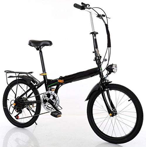 JBHURF Bicycle, Folding Variable Speed Bicycle, Light Bicycle, Portable Small Wheel 20 inch Adult Student car, Suitable for Mountain Road and rain and Snow Road (Color : Black, Size : 20 inch)