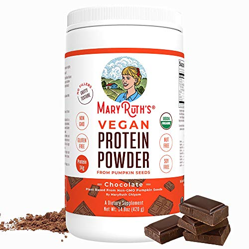 ORGANIC PROTEIN POWDER Plant-Based (Creamy Chocolate Fudge) by MARYRUTH Vegan, Gluten Free, Non-GMO, Soy Free, Dairy Free, Nut Free, No Fillers, No Additives, Paleo Friendly 14.8 oz For Men & Women