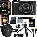 Canon PowerShot G7X Mark III 20.1MP 4K Digital Camera Vlogger Bundle (Black) with 4.2X Optical Zoom Lens 24-100mm f/1.8-2.8 Black 3637C001 with 64GB Memory, Tripod, Camera Bag, HDMI Cable,