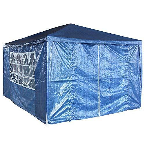 JAOSY 3 m x 4 m Gazebo Impermeable con 4 Paredes Laterales 3 Ventanas toldo Fiesta Boda Tienda de campaña toldo jardín Marquee versión actualizada, 5 años de garantía, Azul
