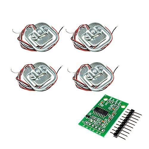 ZRYYD 4 stücke 50kg Menschliche Wahl-Zellen Gewichtssensoren + HX711 AD-Modul Körperwartungszelle Wiegensensor Drucksensoren Messwerkzeuge