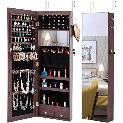 LLP LM Full Mirror Wooden Floor Standing 4-Layer Shelf for Home Indoor Bedroom with Inner Mirror Jewelry Storage Adjustable Mirror Cabinet - Dark Brown,a