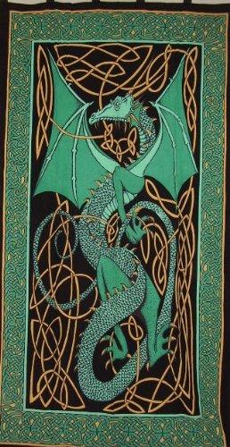 Celtic Dragon Tab Top Curtain-Drape-Door Panel-Green