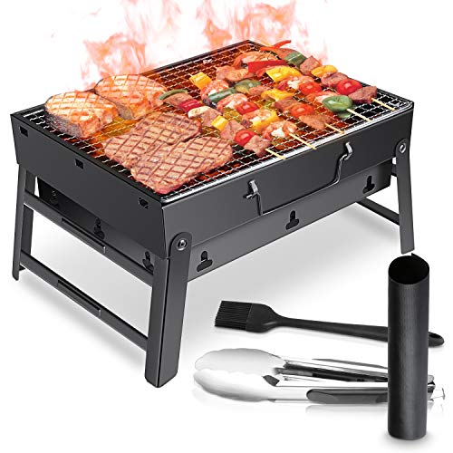 WOSTOO Holzkohlegrill,BBQ Grill Charcoal Grill Picknickgrill Tragbar Klappgrill Grill Portable Campinggrill für Hausgärten BBQ Outdoor Beach Party usw-Schwarz