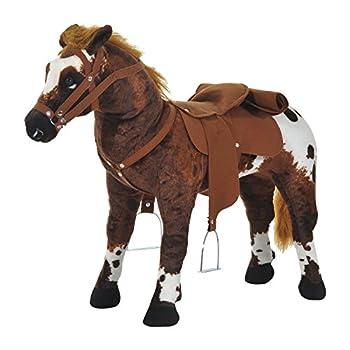 Qaba Children's Plush Interactive Standing Ride-On Horse Toy with Sound -Dark Brown/White