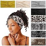 Tobeffect 8 PackTurban Headbands for Women Non Slip Leopard Print Boho Head Wrap Accessories Elastic Hair Band