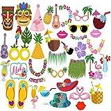 Liadance Hawaiano Photo Booth Puntales - Fiesta en la Playa de Verano Tropical Tiki Juegos de Disfraces 22 Piezas por Set - Estilo Hawaiano