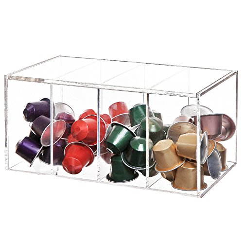 Deluxe Clear Acrylic 4 Compartment Hinge Lid Capsule...