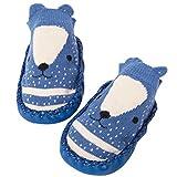 MyMei ベビーソックス ベビシューズ 靴下 綿 赤ちゃん ルームシューズ 滑り止め付き かわいい プレゼント 出産祝い (11cm, ブルー)