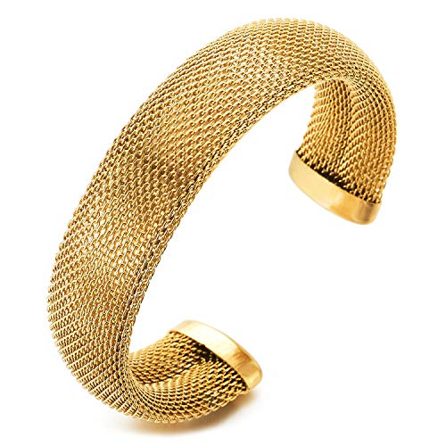 COOLSTEELANDBEYOND Acero Inoxidable Oro Ajustable Rejilla Malla Cable Brazalete Pulsera de Mujer, Glamorosos