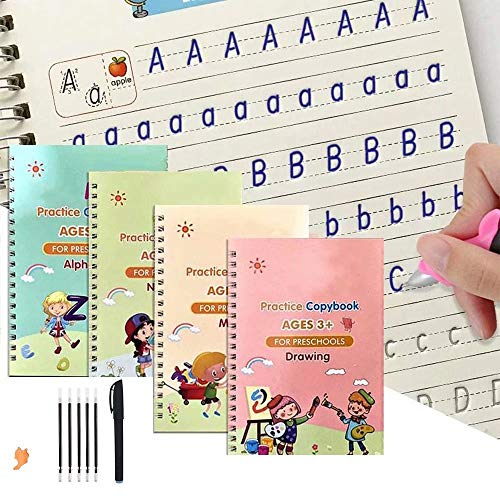 4 Pack Practice Copybook That Can Be Reused, Calligraphy Set for Kids Number Math Drawing Alphabet Handwriting Book,Repeatedly Letter Writing Copybook