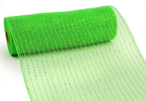 10 Inch x 10 Yards (30 feet) Deco Poly Mesh Ribbon - Lime Green with Lime Foil : RE130150