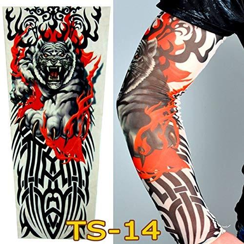 Avmy 1PC UV-Schutz im Freien Fahrarm Ärmel Party Tattoo Ärmel Fake Tattoo Armwärmer Radsport Ärmel Sonnenschutz Männer Frauen, TS14