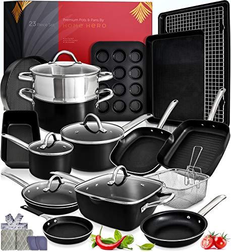 Kitchen Pots and Pans Set Nonstick Induction Cookware Sets -23pc Induction Pots and Pans for Cooking Kitchen Cookware Sets with Frying Pans Nonstick Pots and Pans Set Non Sticking Pan Set Cookware Set