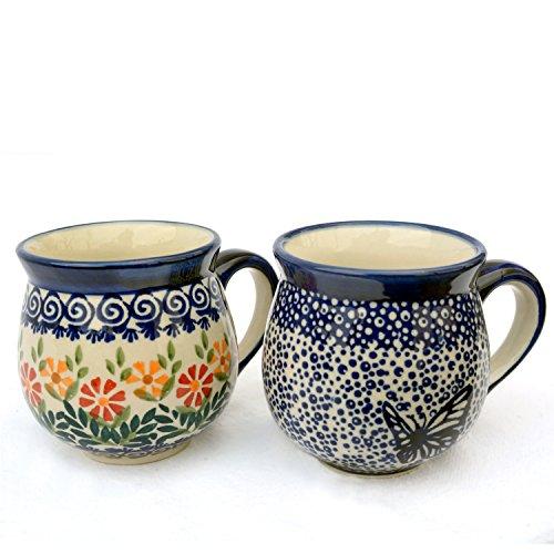 Original Bunzlauer Keramik-Becher, Kugelform 280 ml, im Set zu 2 Stück (Dekore Adelheid und Blauer Falter)