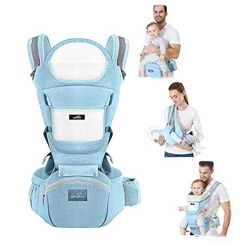 Safeway Marsupio Porta Bambino - Porta Bebè Ergonomico 0-36 Mesi di Cotone - 10 Tipi di Seduta - Zaino Con Borsa, Cintura e Supporto per la Testa - Regalo per le Mamme - Accessori per Neonati e Bimbi