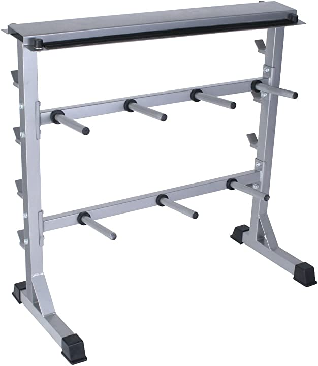 Rastrelliera pesi - carico max 300 kg, acciaio, 4 ripiani per barre, 7 manici per dischi, e ripiano manubri B085CLSG1G