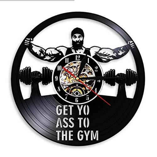 mazhant Get Yo Ass To The Gym Reloj de Pared con Disco de Vinilo Vintage Reloj de Entrenamiento con Mancuernas Fitness Reloj Vintage Regalos de diseño Moderno