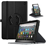 TiMOVO Case for All-New Kindle Fire HD 8 Tablet and Fire HD 8 Plus Tablet (10th Generation, 2020 Release), 90 Degree Rotating Swivel Leather Cover Case with Auto Wake/Sleep - Black