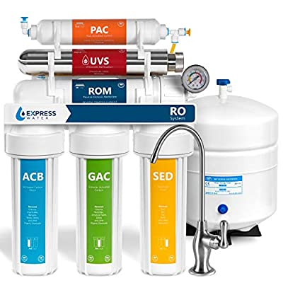 Express Water Ultraviolet Reverse Osmosis Water Filtration System - 6 Stage RO UV Water Sterilizer with Faucet and Tank - UV Under Sink Water Filter - 100 GPD with Pressure Gauge