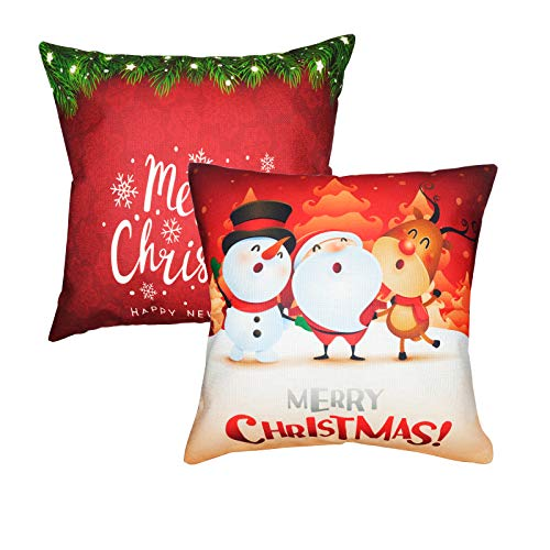You - 2 Piezas Funda de Cojín de Navidad, Funda de Almohada Cuadrada de Lino de Algodón Navideño, Feliz Navidad / Muñeco de Nieve y Papá Noel Navidad Decoración del Hogar Funda de Almohada 45 x 45 cm