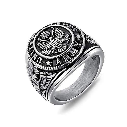 Acero inoxidable de los hombres dominante estilo americano Estados Unidos ejército militar anillo oro y plata color nativo titanio acero anillos hombres bandera militar águila anillo Plateado