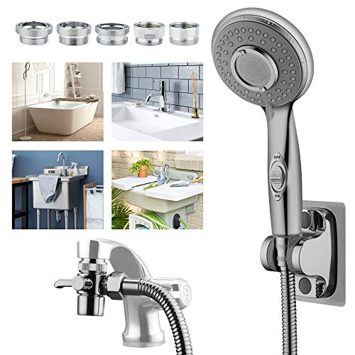 KLLEYNA Sink Faucet Hose Sprayer for Hair Washing, Shower Head Attachment for Bathtub Faucet with 5 Adapters, Bathroom Sink Sprayer Rinse Extension Hose for Pet Dog Shower and Baby Bath in Utility Tub