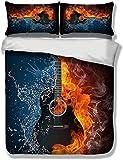 Qingxsm Guitare électrique Fire and Ice Housse Couette 220x240 cm Microfibre Parure de Lit en 3 pièces Doux Housse Couette en Impression + 2 Taie d'oreiller 50x75 cm avec Fermeture éclair