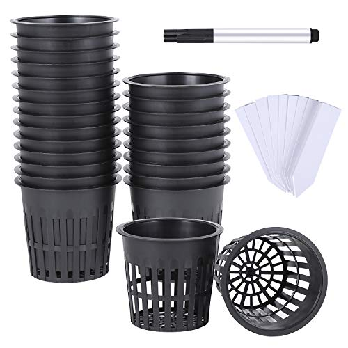 Ohuhu 4 Inch 25 Pack Net Pots Net Cups, Heavy Duty Plastic Net Pot with Wide Rim Design, Resilient Garden Slotted Mesh Cup with Black Pen & 25 PCS Plant Labels, Durable Bucket Baskets for Hydroponics