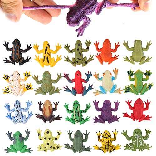 Frog Toys 12 Pack Mini Rubber Frog Sets Food Grade Material TPR Super Stretches with Gift Bag ValeforToy Realistic Frog Figure Squish Toys for Boy