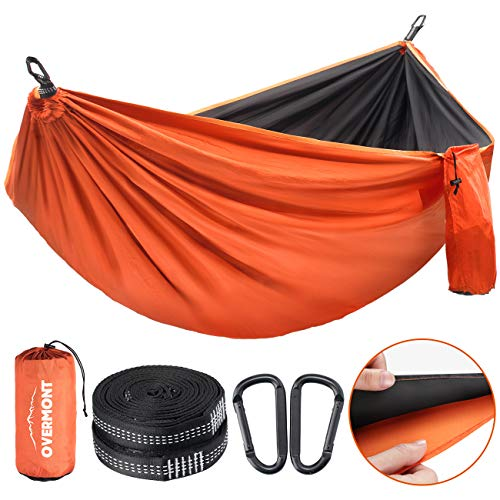 Overmont Double Layers Camping Hammock German TUV Certificated Portable Outdoor Hammock Lightweight for Backpacking Hiking Sports Travel with Tree Straps Max Load of 400 KG (Black+Orange)