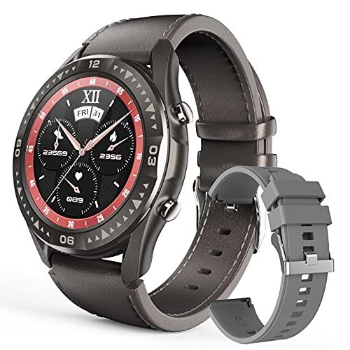 HQPCAHL Smartwatch Reloj Inteligente para Hombres, Soporte De Grabación Y Llamada Bluetooth, 8GB De Memoria, Fitness Tracker con Monitor De Frecuencia Cardíaca Y Presión Arterial Spo2,Gris