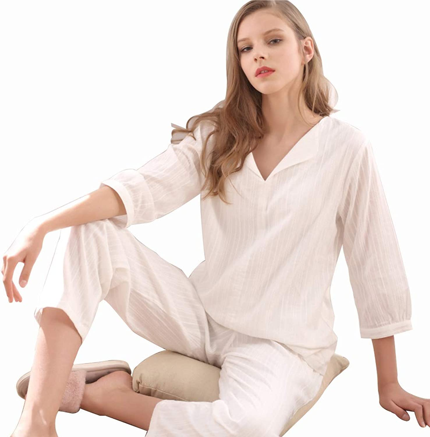 Pajamas Pure White Cotton NinePoint Sleeve Trousers Pajamas Women Summer Casual Home Service (color   White, Size   L)