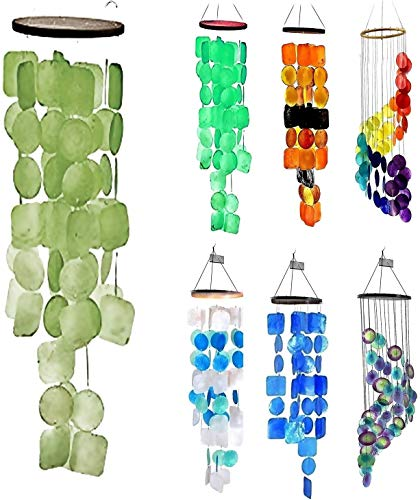 Bellaa 20737 Wind Chime Capiz Lime Green Color Handmade
