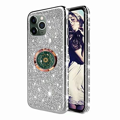 TYWZ Astrolabio Cover per iPhone 12 PRO,Glitter Diamante Placcatura Telaio Brillante Silicone Custodia con 360 Grado Rotazione Verde Bussola Anello Cavalletto
