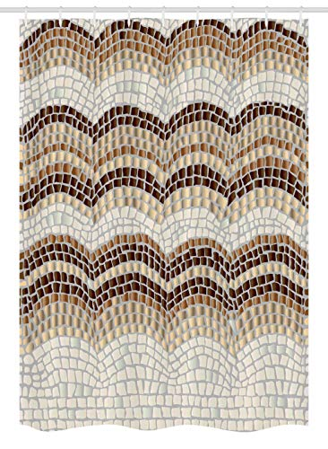 "Ambesonne Beige Stall Shower Curtain, Gradient Colored Mosaic Waves Setting Antique Roman Royal Dated Retro Patterns, Fabric Bathroom Decor Set with Hooks, 54"" X 78"", Beige Brown"