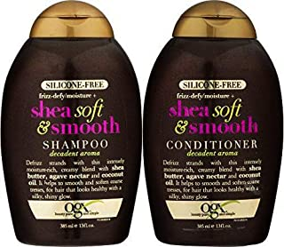 [ NEW COMBO] OGX Frizz-defy/Moisture SHEA SOFT & SMOOTH SHAMPOO + CONDITIONER 13 OUNCE EA Silicone-Free