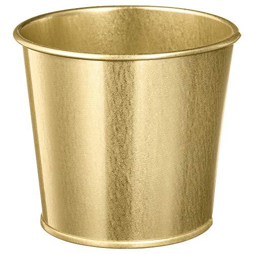 Plant Pot Brass-Colour, Assembled Size Height: 9 cm Outside Diameter: 11 cm Max. Diameter Flowerpot: 9 cm Inside Diameter: 10 cm, Materials Galvanized Steel, Plastic Foil