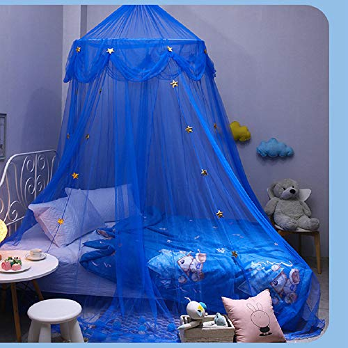 N G Blue Bed Canopy with Stars Bed Curtain Prince Mosquito net for Boys Bedding net Dome Bed Reading Tent