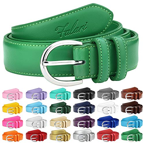 Falari Women Genuine Leather Belt Fashion Dress Belt With Single Prong Buckle 6028-KellyGreen-M