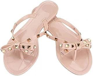 Women Bow Rivets Flip-Flops Sandals Bowtie Jelly Thong Flats Sandals Rubber Beach Rain Slippers