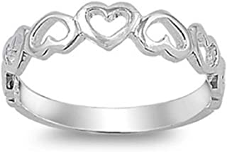 CloseoutWarehouse Plain Half Eternity Hearts Ring Sterling Silver 925
