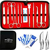 22 Pcs Advanced Dissection Kit For Anatomy and Biology Medical Students With Scalpel Knife Handle - 11 Blades - Case - Lab Veterinary Botany Stainless Steel Dissecting Tool Set For Frogs Animals etc