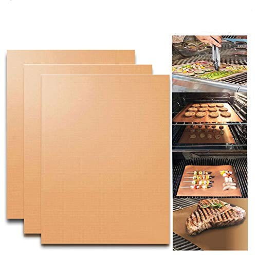 KITHOM Grill and Bake Mats Set of 3, Copper BBQ Grill Mats and Oven Liner, Reusable, Non Stick, Heavy Duty, Easy to Clean, 0.25mm Thickness, Works on Gas, Charcoal, Electric Grill, 15.75 x 13 Inch