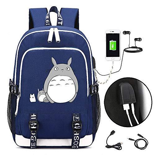 CBA BING Mijn Buurman Totoro Student Rugzak, met USB Opladen Poort en Oortelefoon Poort, Laptop Tas Handtas Cool Schoudertas voor Jongens Meisjes Mannen Vrouwen Outdoor