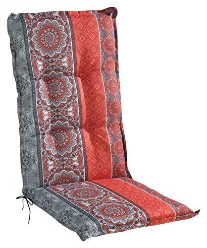 Sesselauflage Sitzpolster Gartenstuhlauflage für Hochlehner | 50 cm x 120 cm | Rot | Mandalamotiv | Baumwolle | Polyester