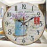 Orologio da parete vintage silenzioso nordico, stile casalingo stile di moda per la casa in stile industriale senza tick il suo orologio da parete, orologio rotondo retro orologio al quarzo,violet