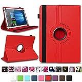 NAmobile Tablet Tasche kompatibel für Xido Z120 Z110 X111 X110 Hülle Schutzhülle Tablettasche mit Standfunktion 360 Crad drehbar Universal Tablethülle, Farben:Rot