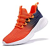 VITUOFLY Boys Sneakers Kids Running Shoes Girls Mesh Fitness Shoe Indoor Training Sneaker Lightweight Outdoor Sports Athletic Tennis Shoes for Little Kid/Big Kid Orange 6.5