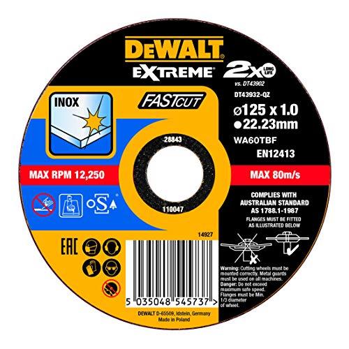 DEWALT DT43932-QZ DT43932-QZ-Disco de Corte Plano Extreme Fast Cut para INOX con Grano Industrial de óxido de Aluminio 125 x 1 x 22.23 mm, Schwarz/Gelb